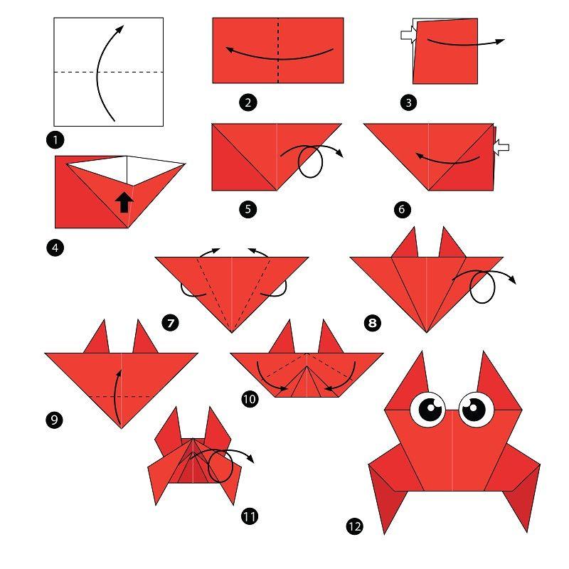 Origami Yapımı Yengeç