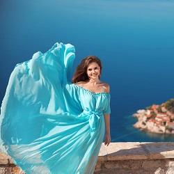 Yazlık Elbise Modelleri Düşük Omuz Elbise