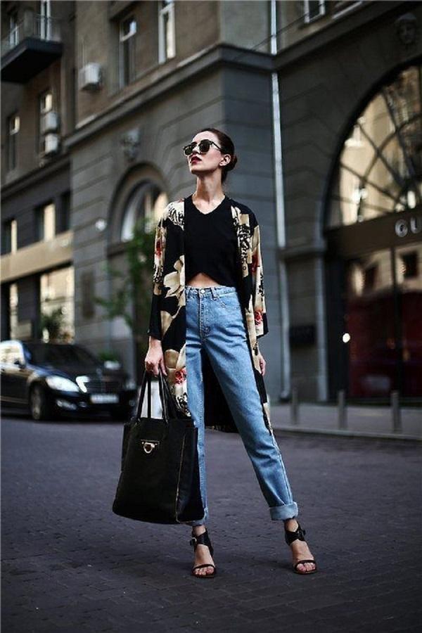 Yüksek Bel Pantolon Kimono Kombini