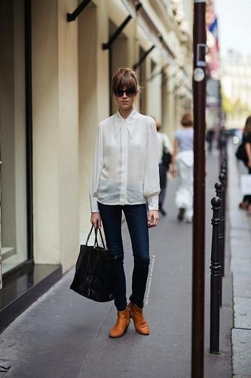 Beyaz Gömlek Kombini Skinny Jeans