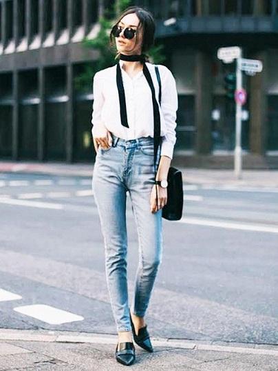 Beyaz Gömlek Kombini Skinny Scarf